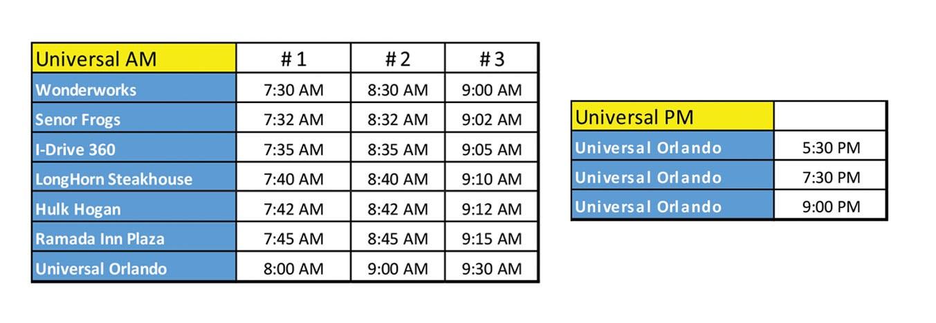 Universal Orlando Theme Park Express Timetable